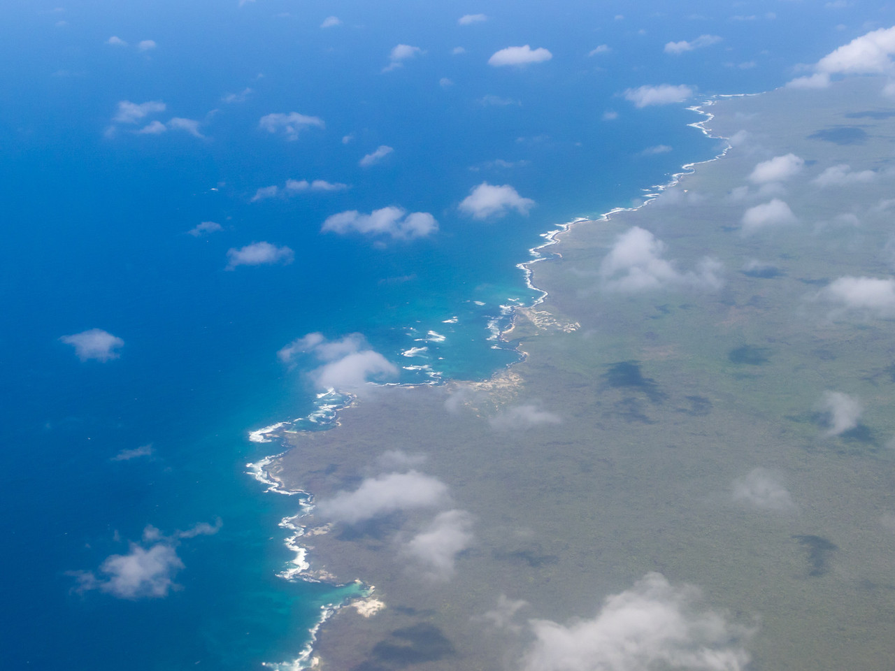 Our first look at the Galapagos Islands, flying from Quito