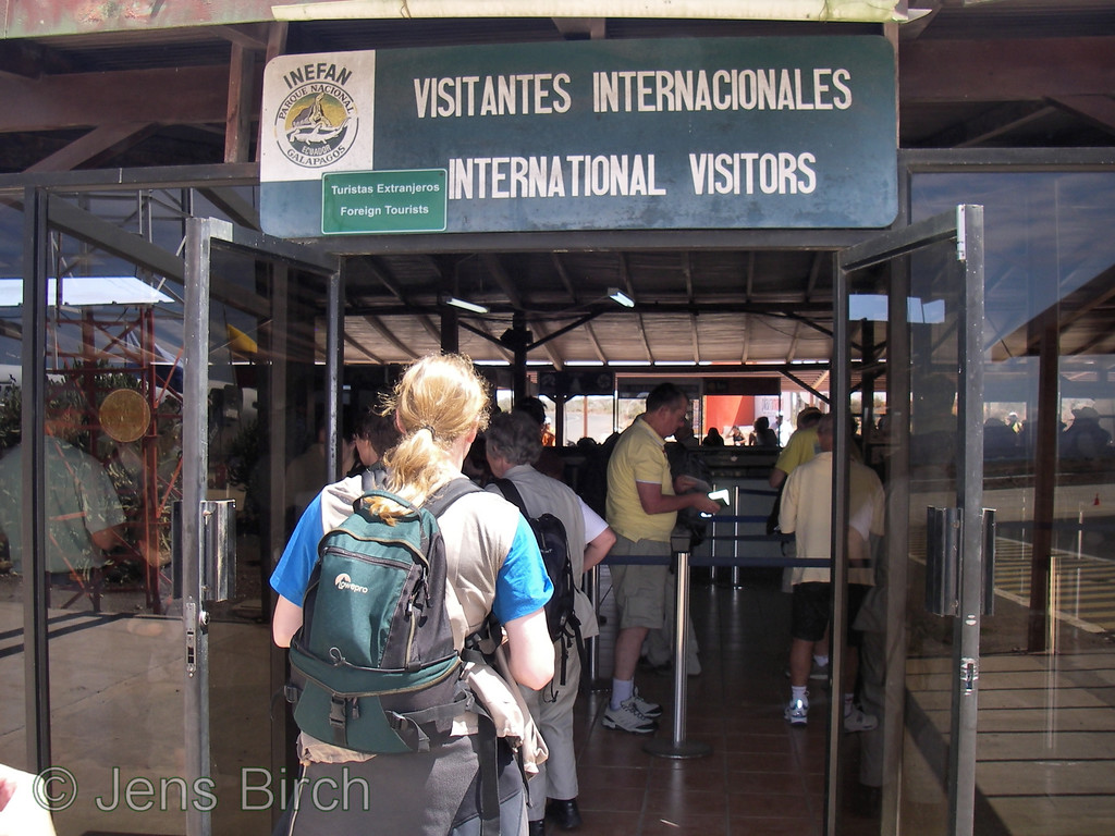 The Baltra airport is small and crowded. One have to pay a $100 fee to enter the Galapagos National park already here.