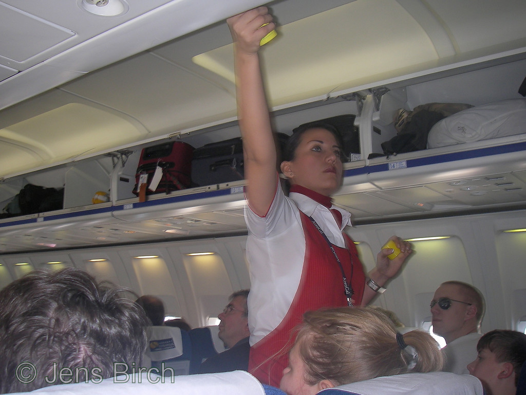 The stewardesses sprays all carry-on bags with insecticides before landing in order to prevent unintentional import of foreign species that will be harmful for the Galapagos eco system.