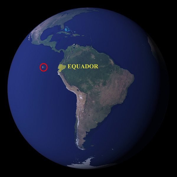 The Galapagos Islands are about 600 miles west of Ecuador, South America