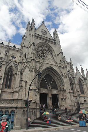 "Basillica of the National Vow in Quito, Equador - technically it is ""unfinished"" - local legend says when it is finished, the end of the world will come"