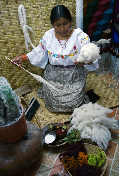 Otavalo weaver, spinning wool