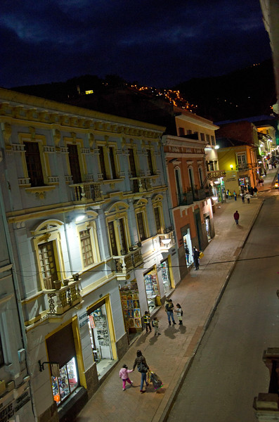 A Quito street- shot from Hotel Real Audiencia.
