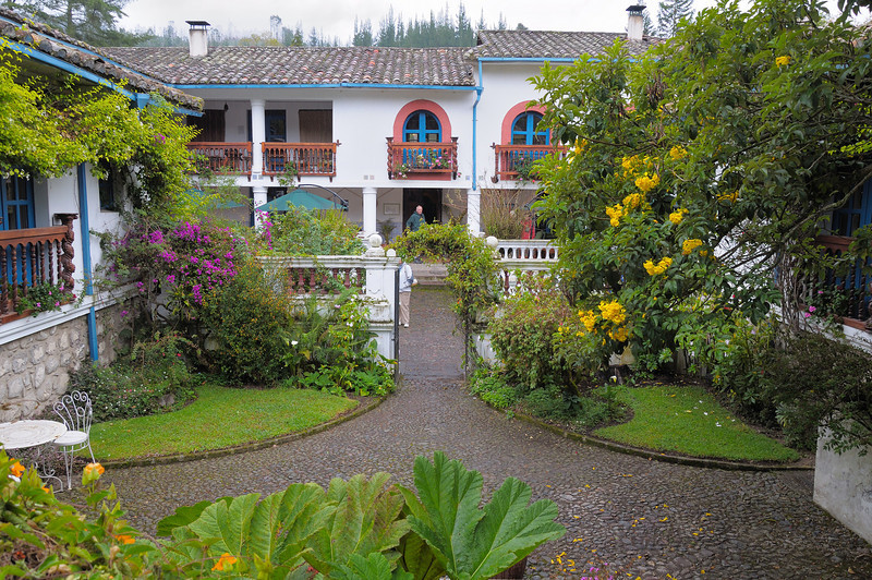 Our first day was a tour of the suburbs around Quito, Ecuador and the market town of Otavalo.  Lunch was in the rain at this stunning hacienda.