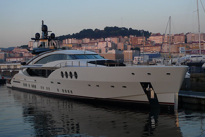 Lady M, at 64m, the largest Palmer Johnson to date, overnighting on a purpose-built superyacht pontoon in Marina Davila Sport, Vigo.