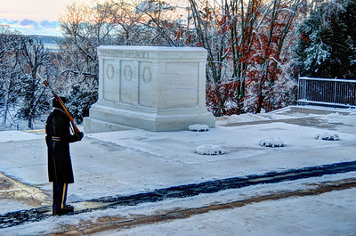 Snow at Arlington National Cemetery, the morning of January 3, 2014.