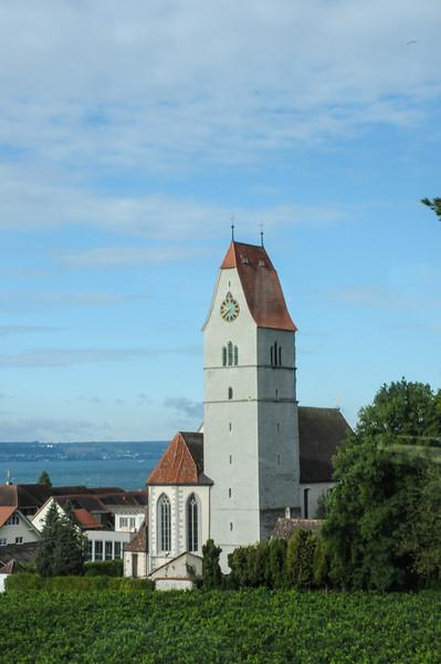 Vineyard and church along Lake Constance.