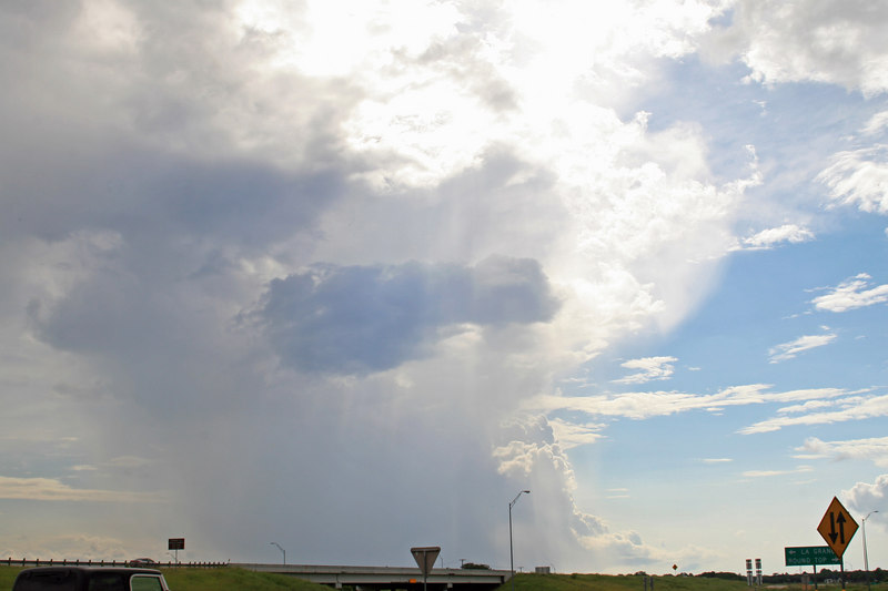 summer shower outside of Columbus we saw on the way back to Austin