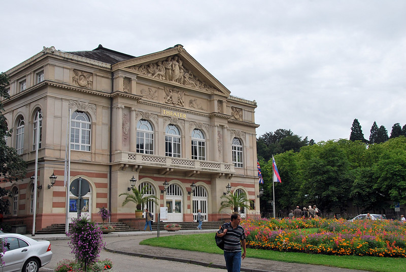 Theater and garden in Baden-Baden.<br /> <br /> (picture taken July 12, 2009)