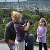 Young photographer photographs his sister atop the tower in Killesberg Park - Stuttgart.<br /> <br /> (picture taken July 12, 2009)