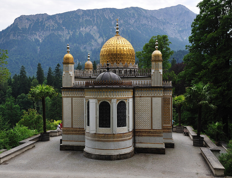Moorish kiosk at Linderhof. This was built in 1867 as the Prussian contribution to the World Exhibition in Paris. Later purchased by Ludwig II and moved to Linderhof in Bavaria.<br /> <br /> picture taken July 14, 2009