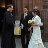 Newlyweds apparently greeting the minister who married them.<br /> <br /> (picture taken July 11, 2009)
