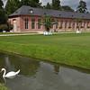 Orangerie and swan in the gardens of Schwetzingen Castle near Heidelberg:<br /> <br /> (picture taken July 11, 2009)