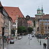 Hauptmarket square in Nuremberg with its Schoner Brunnen (Beautiful Fountain carved around 1400.<br /> <br /> picture taken July 19, 2009