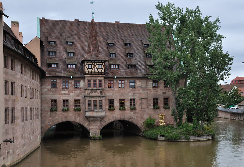 Heilig-Geist-Spital, Nuremberg<br /> <br /> The hospital was endowed by the Nuremberg merchant Konrad Groß in 1331 It served as lodging for the old and needy who, in return, had to pray for the soul of the benefactor several times a day. From 1424 to 1796 the Imperial Crown Jewels (crown, orb, sceptre) were kept here.<br /> <br /> picture taken July 19, 2009