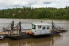 Winch ferry Cassiopeia IV docked on the south shore of the Abitibi River. Highway 579.