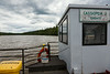 Looking to the length of the Abitibi River from ferry Cassiopeia IV.