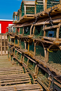 A veritable wall of lobster pots