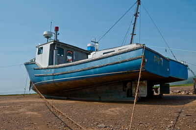 Dry docked fishing vessel