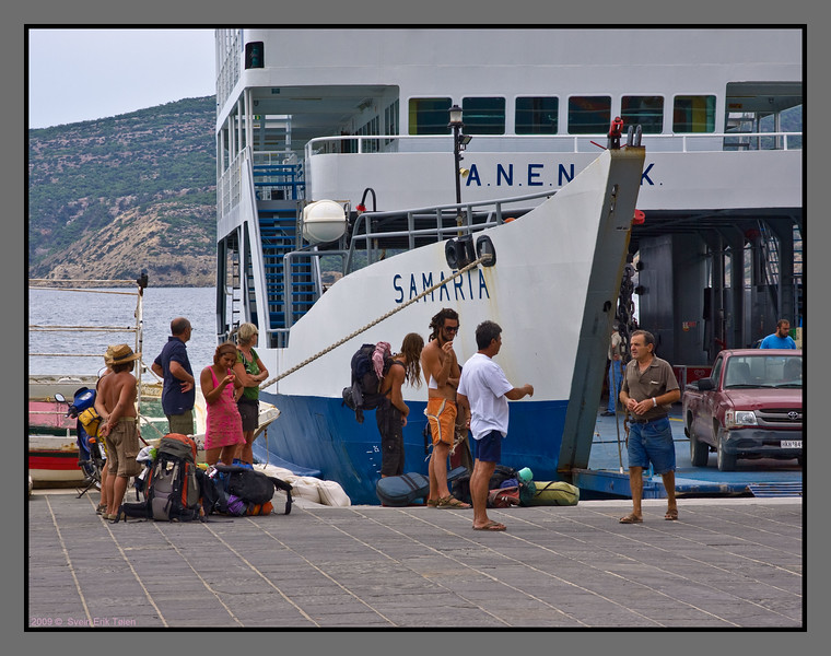 Tourists, campers wating to embark