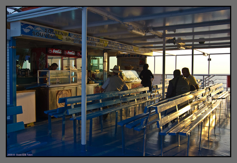 The bar at the ferry is open for a short while in the beginning of the trip.