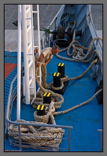 ...coiling the ropes...
