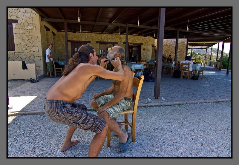 Trimming the beard <br /> Taverna by Fetife (near Agios Ioannis beach)
