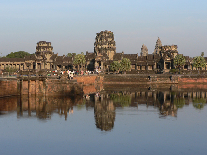 Sight of Angkor Wat from near its outer entrance,  just before sunset, on arrival day.