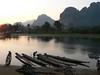Nam Song river scene at sunset.