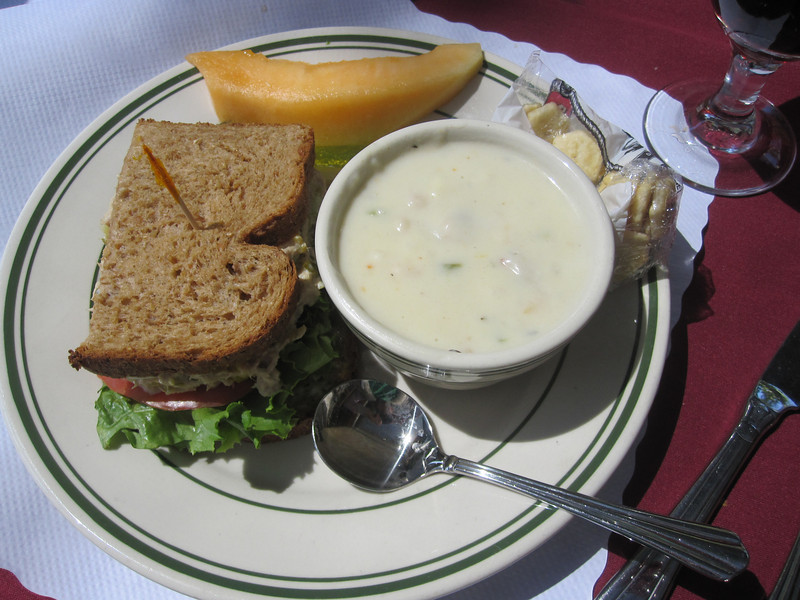 Allyson ordered Half a Tuna Sandwich and a cup of Clam Chowder. She loved the Chowder.. tuna wasn't as refined as she liked it..