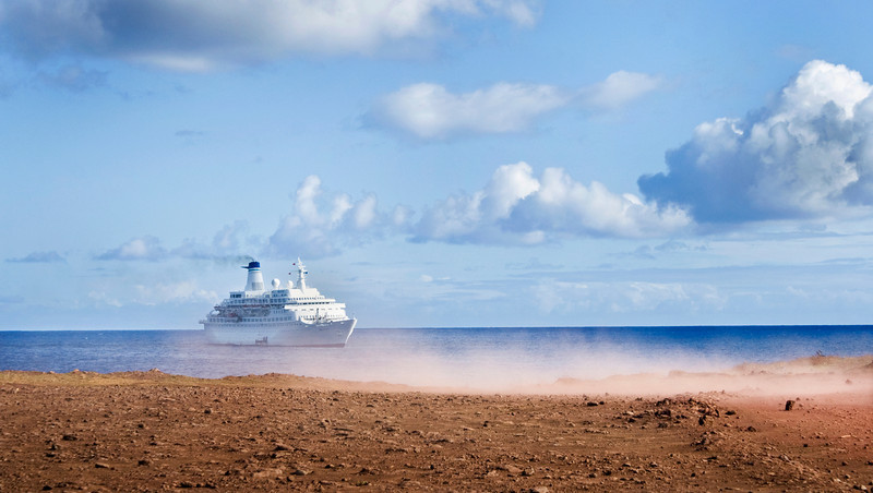 MV Discovery at anchor at Easter Island (Rapa Nui) in the Pacific Ocean. The most remote Island in the world.