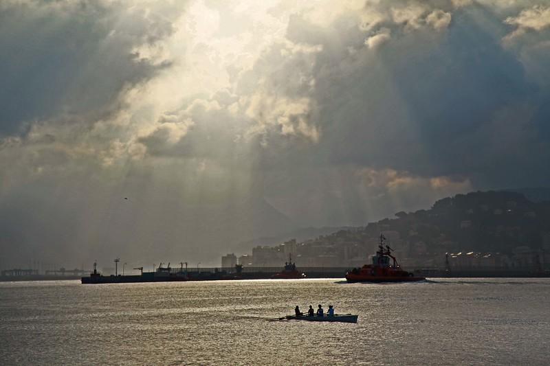 Sunset at Genoa port