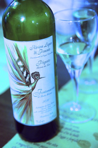Pigato wine. Grape grown locally in Genoa