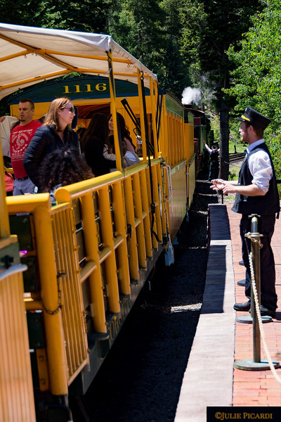 This young man readily assists those who need extra help getting on or off the train.