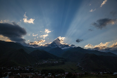 Sunset behind the Kazbek mountain