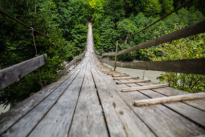 Hanging footbridge over the Enguri river