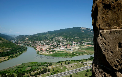 Jvari Monastery (6th Century), overlooking Mtskheta at the confluence of the Aragvi and Kur Cayi rivers.