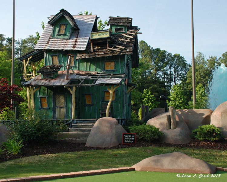 On Thursday evening, I decided to go to a semi local miniature golf course.  This is one of the structures on the mining town mini golf layout