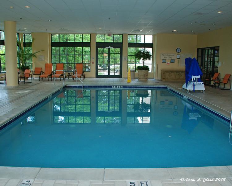 The hotel's indoor pool