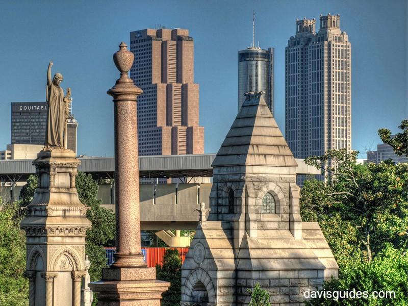 Oakland Cemetery monuments and Atlanta skyline