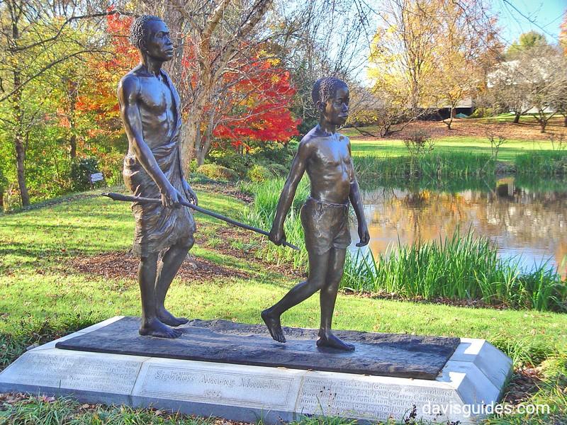 Statue dedicated to eradication of African guinea worm, Carter Center, Atlanta
