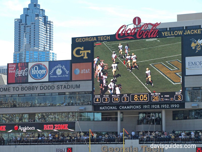Bobby Dodd Stadium scoreboard and skyline of Atlanta