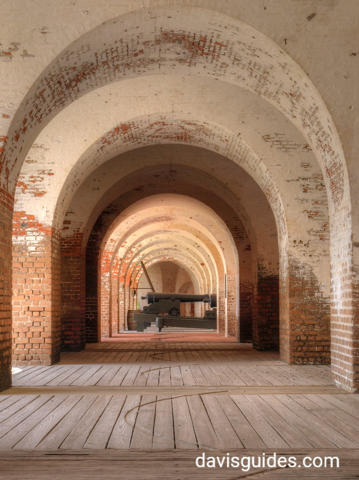 Cannon inside casements of Fort Pulaski National Monument