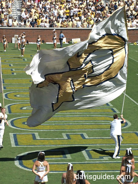 Unfurling the GT flag, Bobby Dodd Stadium at Georgia Tech