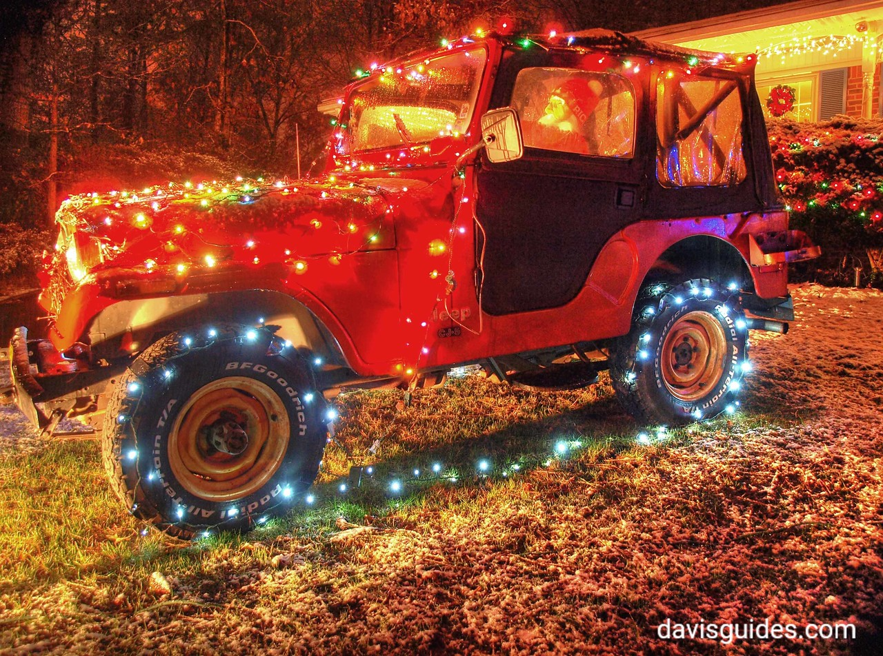An old Jeep decorated for Christmas, Atlanta