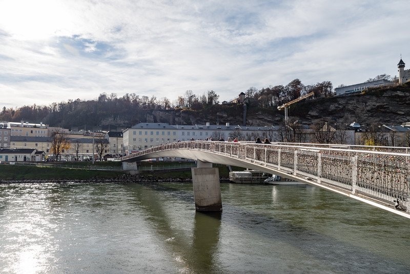 Makartsteg Bridge Over the Salzach River