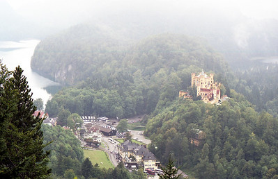 Birdseye view to town and Hohenschwangau Castle.