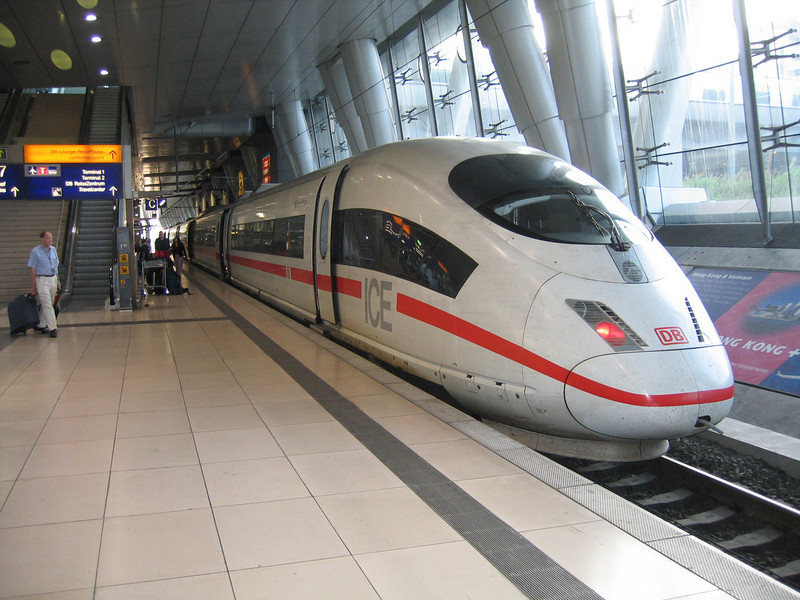 Frankfurt Airport - this is the train station within the airport, with one of the fast ICE trains ready to depart.