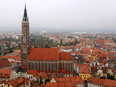 Landshut - The town and the Church of Saint Martin, featuring the world's tallest brick tower, with a height of 130.6 metres.  Church built early 15th century.