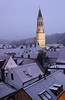 Landshut -  The view out of my hotel window towards St Jodok church on a snowy evening.